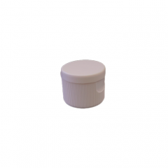 24-410 P/P White Ribbed Flip Top Cap, No Liner