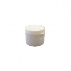 28-410 P/P White Ribbed Flip Top Cap