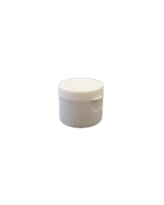 28-410 P/P White Ribbed Flip Top Cap, Small Orifice