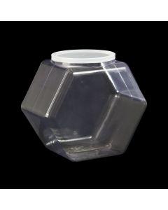 Hexagon PET Clear Snap Neck Jar, 80oz