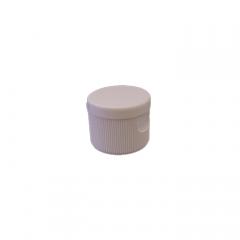 24-410 P/P White Ribbed Flip Top Cap, No Liner