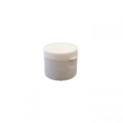 28-410 P/P White Ribbed Flip Top Cap, Small Orifice